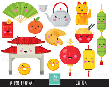 50% SALE CHINA clipart, digital clipart,  kawaii clipart