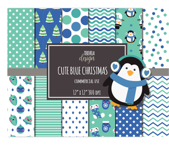 50% SALE CHRISTMAS PAPER SET, BLUE CHRISTMAS