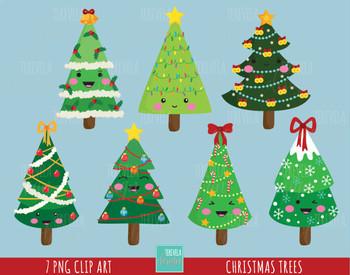 50% SALE CHRISTMAS TREES clipart, christmas clipart, kawaii christmas trees