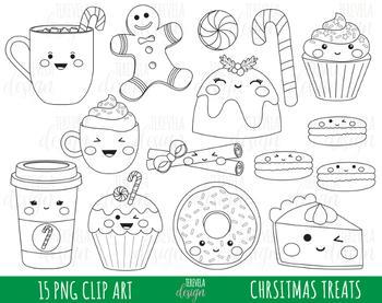 50% SALE CHRISTMAS digital stamp, christmas treats graphics, COLORIN PAGE