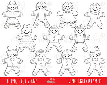 50% SALE CHRISTMAS digital stamps, ginger bread man stamps, ginger cookies