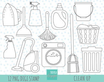 50% SALE CLEANING stamps,  clean up graphics, black and white