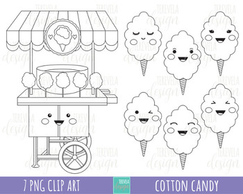 50% SALE COTTON CANDY clipart, candie clipart, sweet treats, black and white