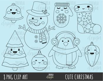 50% SALE CUTE CHRISTMAS clipart, christmas graphics, black line