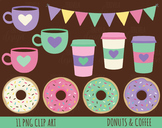 50% SALE Coffe and donut clipart, donuts clipart, coffee clipart