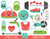 50% SALE Kawaii fitness clipart, excercise graphics, sport clipart