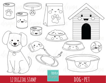 50% SALE DOG stamp, puppy clipart, kawaii dog, black and white