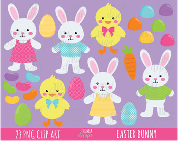 50% SALE EASTER BUNNY clipart, easter rabbit clipart, easter egg cliparT, EASTER