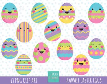 Google Easter Eggs List >> 50% SALE EASTER clipart, easter eggs clipart, kawaii easter eggs