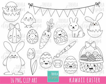 50% SALE EASTER digi stamp, easter rabbit stamp, easter black and white, kawaii