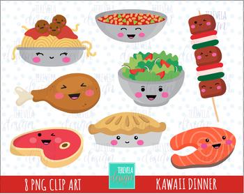 Food kawaii. Sale clipart dinner