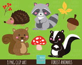 50% SALE FOREST ANIMALS clipart, woodland graphics, commer