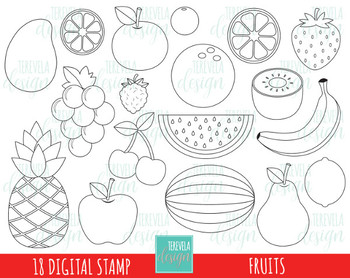 50% SALE FRUITS digital stamp, fruits black and white images
