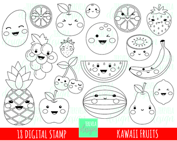 50% SALE FRUITS digital stamp, fruits stamp, kawaii fruit clipart,