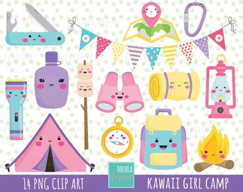 50% SALE GIRL CAMP clipart, kawaii clipart, commercial use, camping clipart