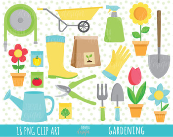 50% SALE Garden clipart, spring clipart, gardening stamps, black and white