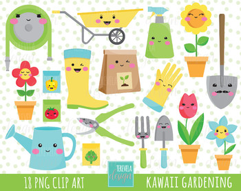 50% SALE Garden clipart, spring clipart, kawaii clipart, flowers, plants