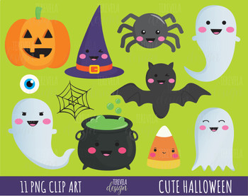 50% SALE HALLOWEEN clipart, cute halloween clipart, kawaii halloween clipart