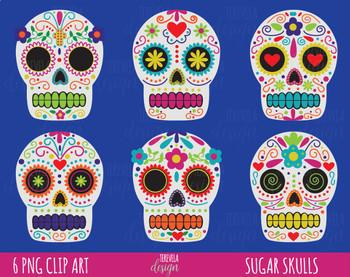 50% SALE HALLOWEEN clipart, day of death clipart, dia de muertos clipart, skulls