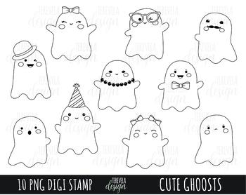50% SALE HALLOWEEN clipart, ghost clipart, kawaii halloween clipart, black lines