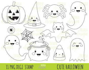 50% SALE HALLOWEEN stamp, kawaii stamp, digi stamp, halloween digital image