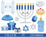 50% SALE HANUKKAH clipart, silver hannukah, commercial use
