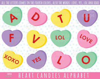 50% SALE HEARTS ALPHABET clipart, candies alphabet, VALENTINE'S DAY