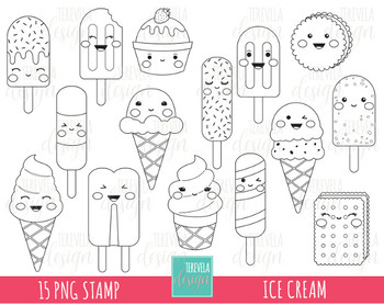 50% SALE ICE CREAM stamp, digi stamp, commercial use, kawaii digi stamp