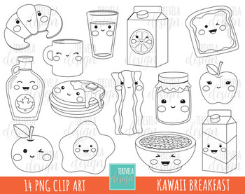 50% SALE KAWAII BREAKFAST digital stamp, food images, black and white
