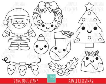 50 sale kawaii christmas stamp christmas digi stamp