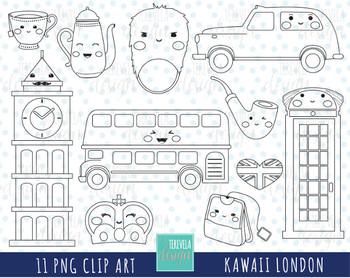50% SALE KAWAII LONDON digi stamp, uk graphics/british