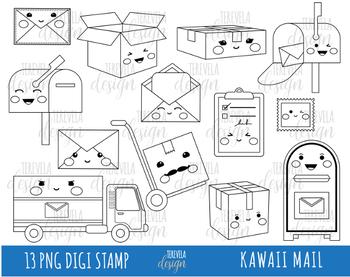50% SALE MAIL digi stamp, post office stamps, Kawaii digi stamp, happy mail