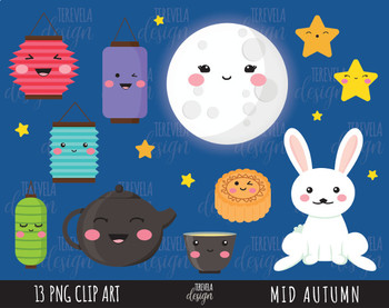 50% SALE MID AUTUMN clipart, digital clipart, commercial use, MOON