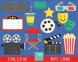 50% SALE MOVIE clipart, cinema graphics, film clipart
