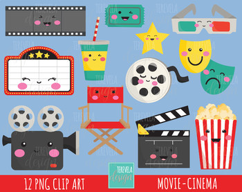 Movie kawaii. Sale clipart cinema