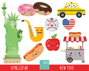 50% SALE NEW york clip art, kawaii clip art, statue of liberty, NY