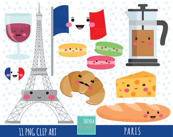 50% SALE PARIS clipart, FRANCE clipart travel clipart, kawaii clipart