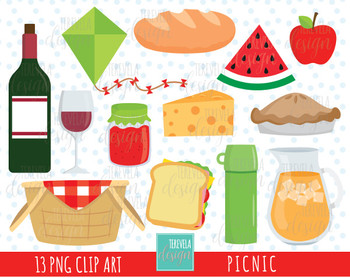50% SALE PICNIC clipart, picnic party clipart, cute graphic, FOOD