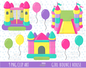 50% SALE PINK BOUNCE HOUSE CLIPART, BOUNCE CASTLE, BALLONS