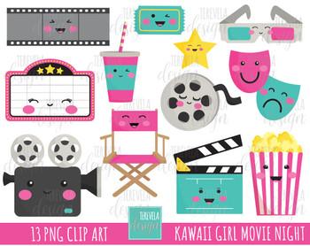 50% SALE PINK MOVIE clipart, cinema graphics, theather, kawaii, cute