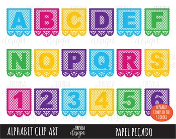 50% SALE Papel Picado Clipart, Alphabet Clip Art, Cinco de Mayo Clip Art