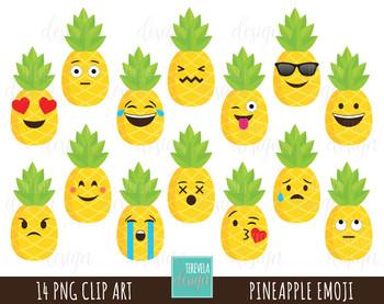 50% SALE Pineapple clipart, emoji clipart, fun clipart, fruit clipart