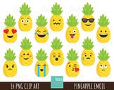 50% SALE Pineapple clipart, emoji clipart, fun clipart, fr
