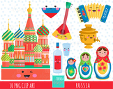 50% SALE RUSSIA clipart, KAWAII RUSSIA, matryoshka, moscow, cute graphics