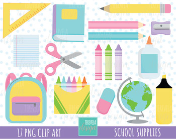 50% SALE SCHOOL clipart, pink, blue, purple and yellow school supplies