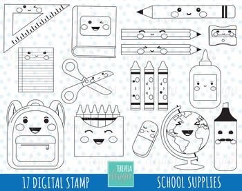 50% SALE SCHOOL digital stamp, teachers graphics, KAWAII, school supplies