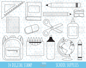 50% SALE SCHOOL digital stamp, teachers graphics, commercial use school supplies