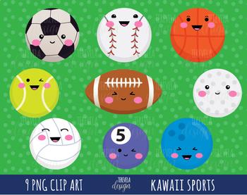 SPORTS clipart, sports balls clipart, kawaii clipart, cute balls
