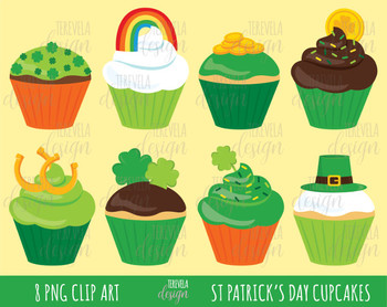 50% SALE ST PATRICK'S cupcakes clipart, st patrick's day clipart
