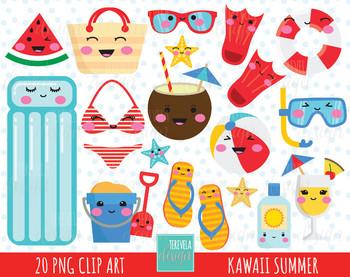 50% SALE SUMMER clipart, kawaii summer clipart, summer graphics